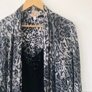 [JM Collection] Snow Leopard Beaded Mock Cardigan
